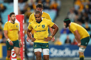 Will Genia of the Wallabies shows his dejection during the opening Bledisloe Cup Rugby Championship match of 2016. Photo / Getty Images