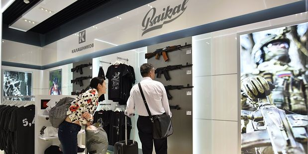 The shop is run by the Kalashnikov Concern, the company - 51 percent of which is owned by the Kremlin - which makes the famous AK-47. Photo / Getty Images