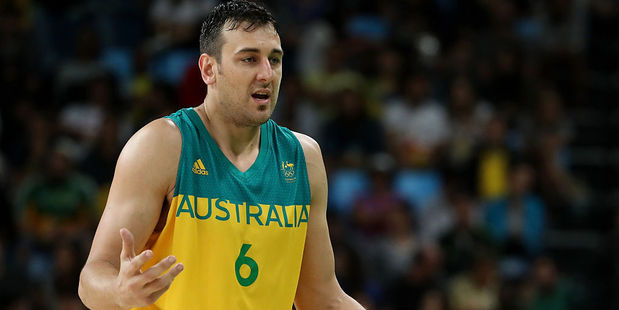 Andrew Bogut of Australia reacts during the Men's Basketball Bronze medal game between Australia and Spain. Photo / Getty Images