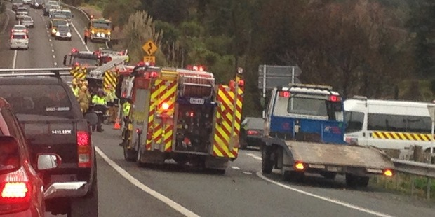 Emergency services at the scene of the crash. Photo / Stacey Hunt