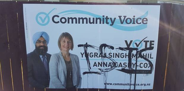 Yugraj Singh Mahil's campaign to nab a seat on the Hamilton City Council's east ward was going well until  one of his billboards was tagged with the word 'Isis'. Photo / Supplied
