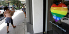 Rainbow decals are in many storefronts along Park Avenue in Winter Park, Florida. Photo / AP