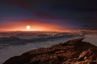 This artist rendering provided by the European Southern Observatory shows a view of the surface of the planet Proxima b orbiting the red dwarf star Proxima Centauri, the closest star to the Solar System.