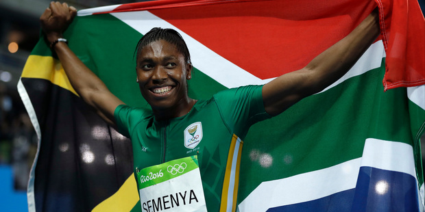 South Africa's Caster Semenya smiles after winning the gold medal in the women's 800-metre final. Photo / AP