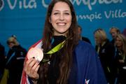 New Zealand Olympic bronze medal winner Eliza McCartney outside the Athletes village. Photo / www.photosport.co.nz