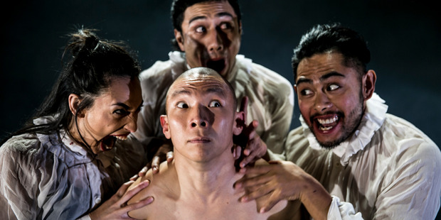 The Absurdity of Humanity: the latest from the New Zealand Dance Company (from left) with dancers Chrissy Kokiri, Eddie Elliot, Carl Tolention and Xin Ji. Photo:  Caroline Bindon.