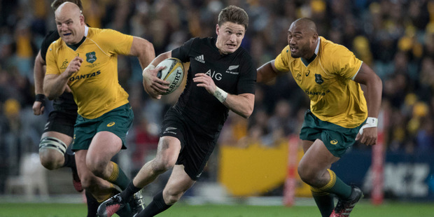 Loading Beauden Barrett in action against Australia during the Rugby Championship. Photo / Brett Phibbs