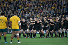 All Blacks perform the haka, during the Rugby Championship 1st Bledisloe test match against Australia at Sydney. Photo / Brett Phibbs