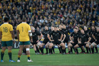 The All Blacks perform the Haka before the Bledisloe Cup clash against Australia. Photo / Brett Phibbs