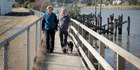 ON EDGE: Karen and Lance Green walk one of the most at-risk sections of the shared pathway. Sunday, August 21, 2016 Wanganui Chronicle photograph by Bevan Conley.