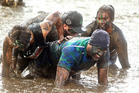 TOUGH ENOUGH: Hamuera Hudson (front) makes his way through the mud. PHOTO/BEN FRASER