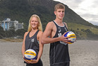 WORLD CLASS: Tauranga's New Zealand under-19 beach volleyballers Emily Johnston and Daniel Kilpatrick. PHOTO/GEORGE NOVAK