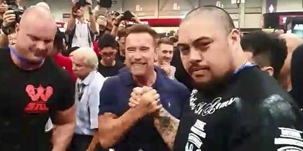 Loading HERO: Rotorua arm wrestling champion Maateiwarangi Heta-morris met Arnold Schwarzenegger at Arnold Asia in Hong Kong. PHOTO/SUPPLIED