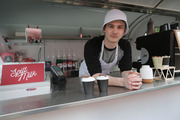 Calum Dykes is in a dispute over the name of his coffee cart business Spilt Milk. Photo / Doug Sherring.