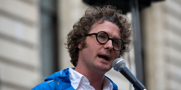 Ben Goldacre addressing the Science is Vital rally. Photo / Alamy