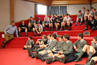 Former Highlanders coach Jamie Joseph spoke with Wanganui Collegiate rugby players on Monday. Photo/ Stuart Munro