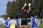 Rotorua Utd goal keeper Andrew Gibbs takes a high ball during the 1-1 draw with Papamoa