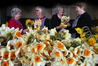 BLOOMING LOVELY: Cancer Society volunteers Patricia Bourne, Shirley Anderson, Alison Waugh and Jo Matthews bunch daffodils ready for delivery.  Photo/John Borren.