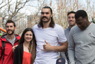 Steven Adams pictured with Kirsty Toy, who fundraising for a basketball court at Ronald McDonald House. Photo / Brett Phibbs