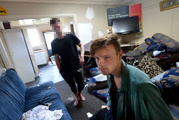 Liam Gower and his Hyde St flatmate who did not want to be identified, said they discovered their flat trashed with four unknown women in it yesterday morning. Photo / Otago Daily Times