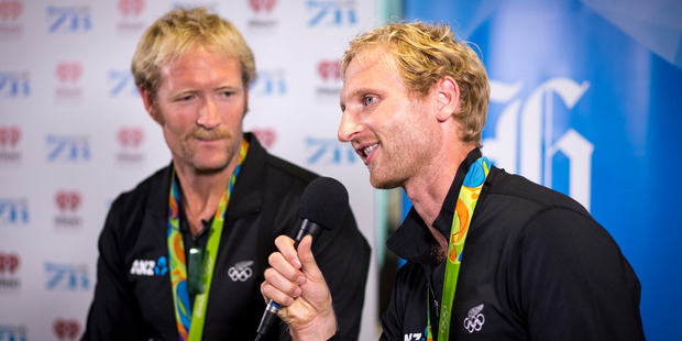 New Zealand Olympic gold medalists Eric Murray, Hamish Bond at NZME Central to launch their book The Kiwi Pair. Photo / Dean Purcell