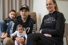 Epi Ronaki, 26, his partner, Alesha Williamson, 25, and their two children, Diaz Ronaki, 5, and baby Aio Ronaki. Photo / Michael Craig