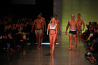 Matilda Rice leads the All Blacks during the Jockey fashion show. Photo / Norrie Montgomery.