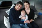 Stefano Guidi , Anna Leese and baby Matteo at home in Warkworth. Photo / Doug Sherring