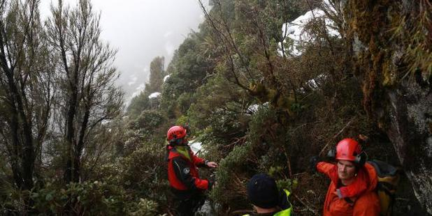 The recovery team at work off the Routeburn Track, trying to recover the body of the Czech climber. Photo / Police