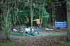 Workers dismantle a camp built by a homeless man next to Takitimu Drive. Photo/Andrew Warner