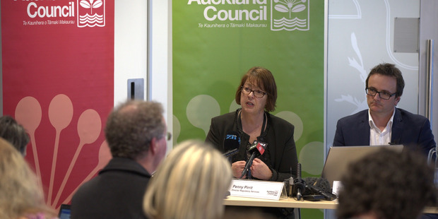 Auckland City Council representatives speak to media on the release of new housing plans for Auckland and Rural Auckland. Photo / Nick Reed