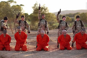 Horrific propaganda video appears to show blue-eyed boy with jihadi fighter name 'Abu Abdullah Al-Britani' The British boy (second from the right) is identified as Abu Abdullah al-Britani.