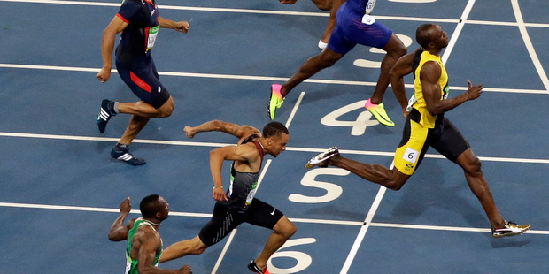 Usain Bolt hasn't quite crossed the line first in every Olympic race. Photo / AP