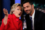 Hillary Clinton proved to  Jimmy Kimmel that she does have the strength to be the next president. Photo / AP