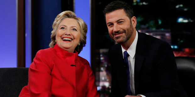 Democratic presidential nominee Hillary Clinton pauses to pose for a photograph as she talks with Jimmy Kimmel. Photo / AP