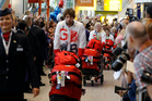 Members of the British Olympic team are welcomed at Heathrow Airport after their arrival from Rio. Photo / AP