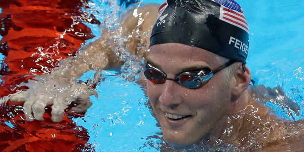 US swimmer James Feigen during a swimming training session prior to the 2016 Olympics. Photo / AP