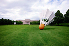 This May 7, 2009 photo provided by Carol M. Highsmith, shows shuttlecock sculptures on the lawn of the Nelson Atkins Art Museum. Photo / Library of Congress via AP