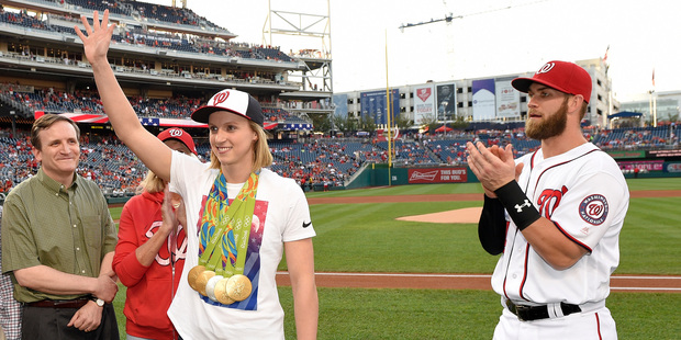 Olympic swimmer Katie Ledecky threw the first pitch at the Washington Nationals' baseball game against the Baltimore Orioles this week. Photo / AP.