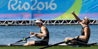 Eric Murray and Hamish Bond win the gold medal in the men's rowing pair final during the 2016 Summer Olympics in Rio. Photo / AP