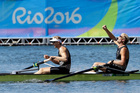 Eric Murray and Hamish Bond, of New Zealand, win the gold medal in the men's rowing pair final during the 2016 Rio Olympics. Photo / AP