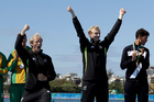 Gold medal winners Eric Murray and Hamish Bond will be welcomed back to Auckland this morning. Photo / AP