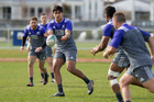 Rieko Ioane in action during the All Blacks training session at the Hutt Recreation Ground. Photo / Mark Mitchell