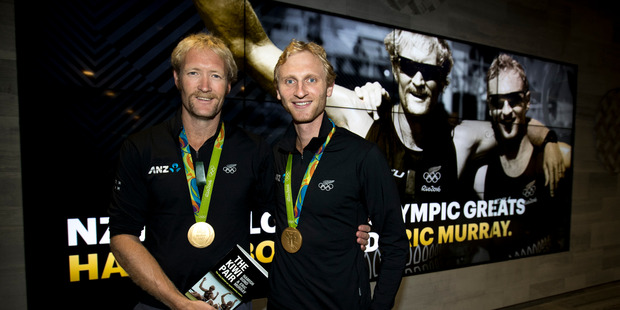 New Zealand olympic gold medalists Eric Murray and Hamish Bond at NZME. Photo / Dean Purcell