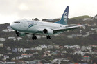 An Air New Zealand Boeing 737 on approach to land at Wellington Airport. Photo / Mark Mitchell