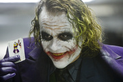 Actor Heath Ledger as the Joker, in the Batman movie The Dark Knight.
