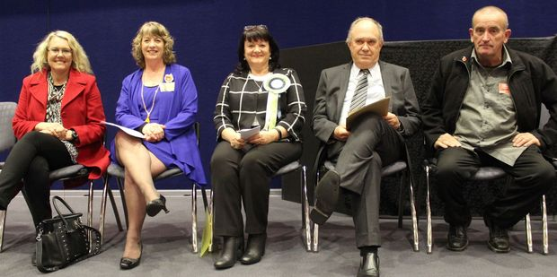 Tararua District mayoral candidates Kay McKenzie (left), Tracey Collis, Shirley Hull, Allan Benbow and Ernie Christison at a Grey Power meeting this week. Photo / Christine McKay