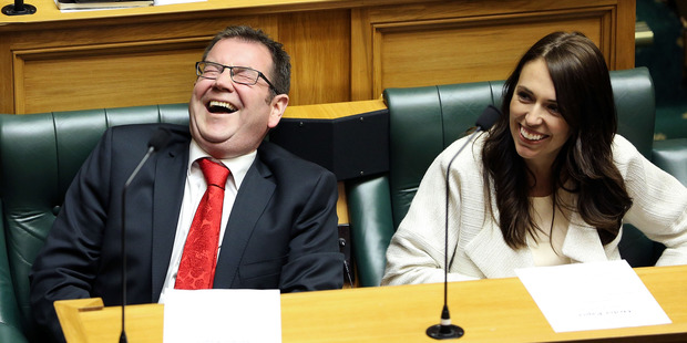 Grant Robertson and Jacinda Ardern at Parliament. Photo / Getty Images