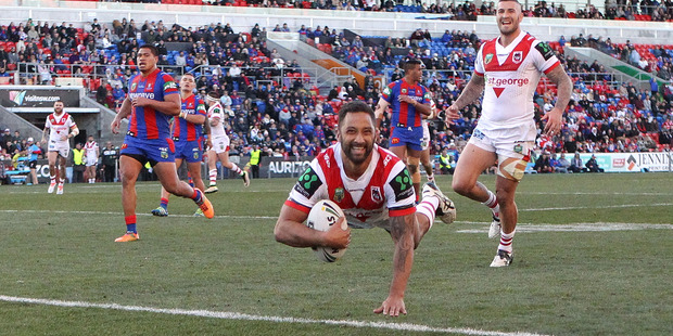 Benji Marshall of the Dragons scores a try. Photo / Getty Images