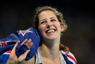 Eliza McCartney celebrates winning bronze in the women's pole vault. Photo / AP